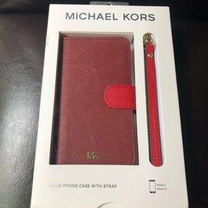 Michael Kors Folio Phone Case w/Strap IPhone X/XS